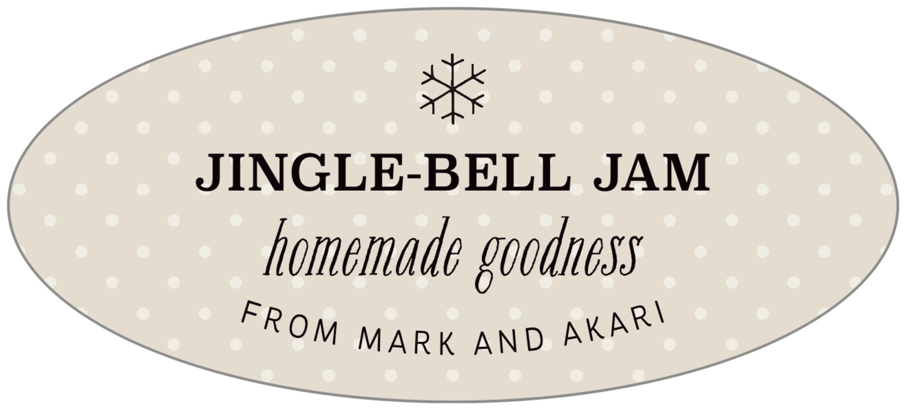 oval food/craft labels - champagne - iconic christmas (set of 30)