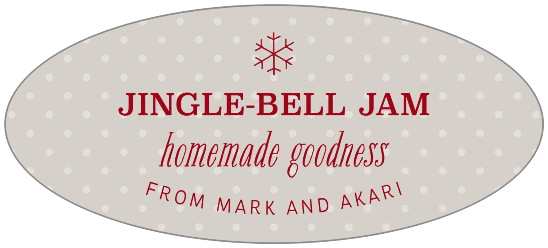 oval food/craft labels - stone - iconic christmas (set of 30)