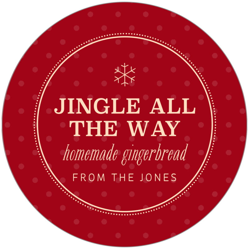 circle food/craft labels - deep red - iconic christmas (set of 12)
