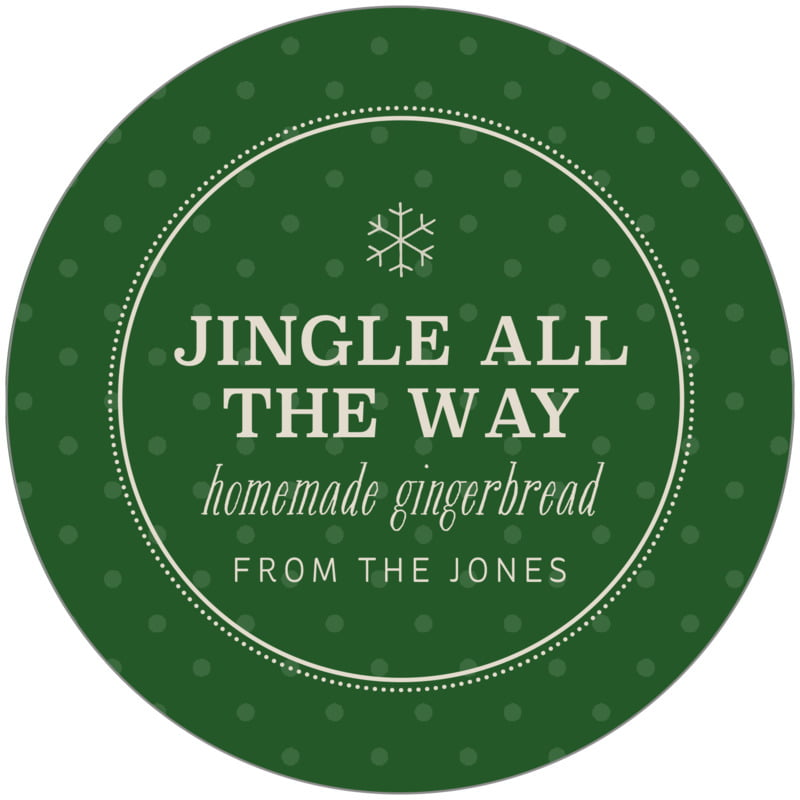 circle food/craft labels - deep green - iconic christmas (set of 12)