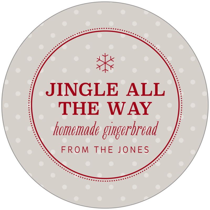 circle food/craft labels - stone - iconic christmas (set of 12)