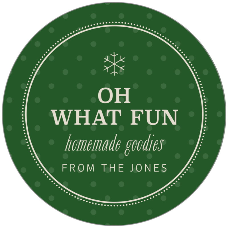 circle food/craft labels - deep green - iconic christmas (set of 20)