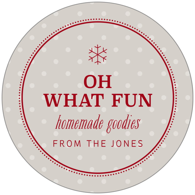 circle food/craft labels - stone - iconic christmas (set of 20)