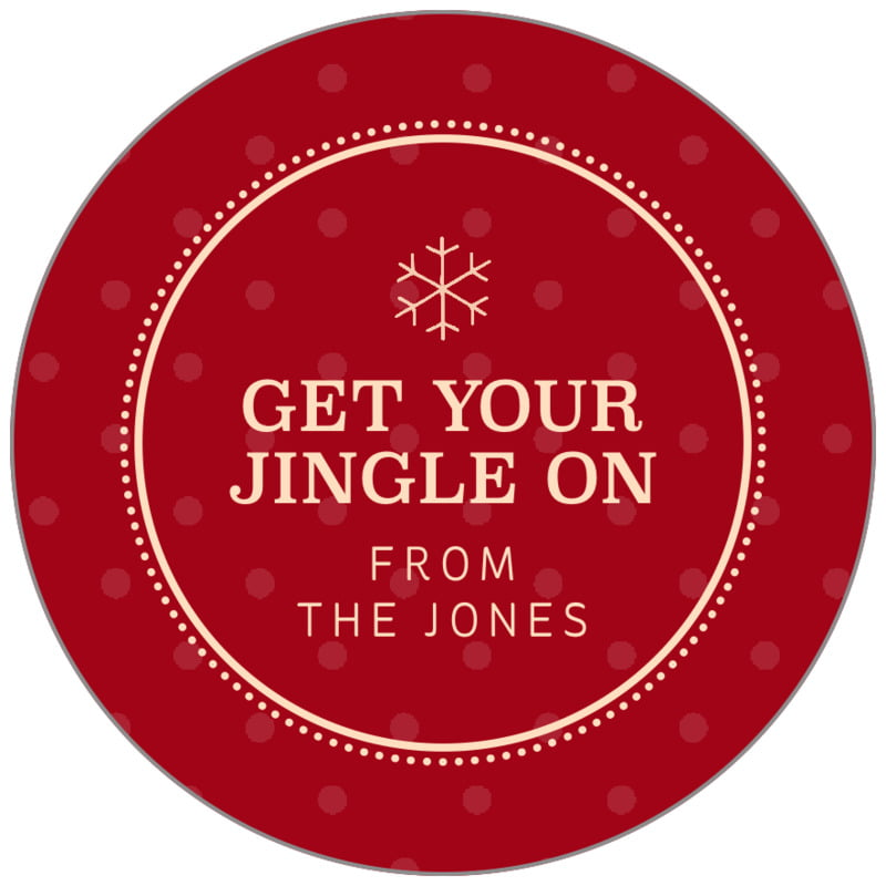 circle food/craft labels - deep red - iconic christmas (set of 35)