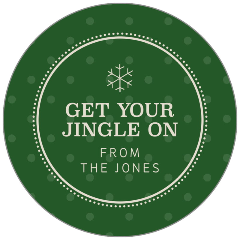 circle food/craft labels - deep green - iconic christmas (set of 35)
