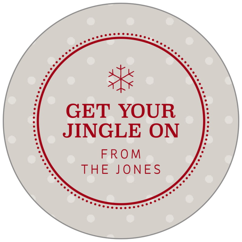 circle food/craft labels - stone - iconic christmas (set of 35)