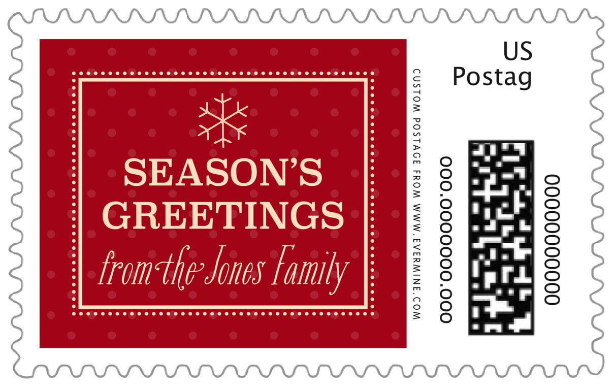 custom large postage stamps - deep red - iconic christmas (set of 20)