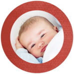 Simple Edge Circle Photo Label In Deep Red
