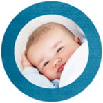 Simple Edge Circle Photo Label In Bahama Blue