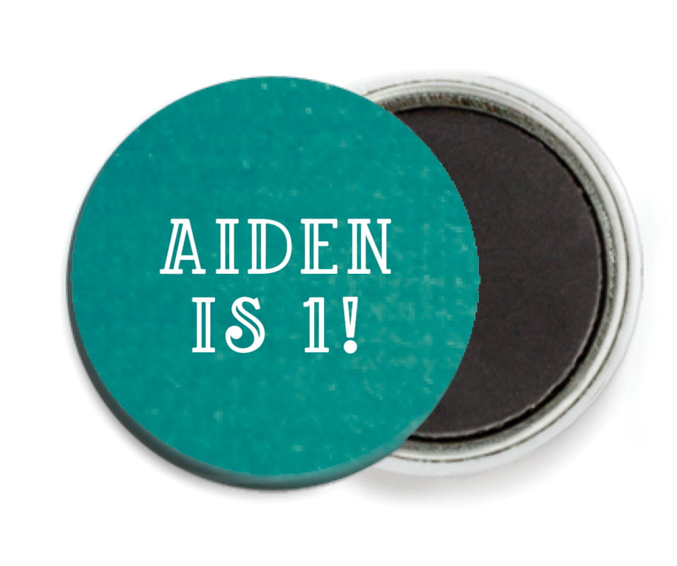 custom button magnets - turquoise - simple edge (set of 6)