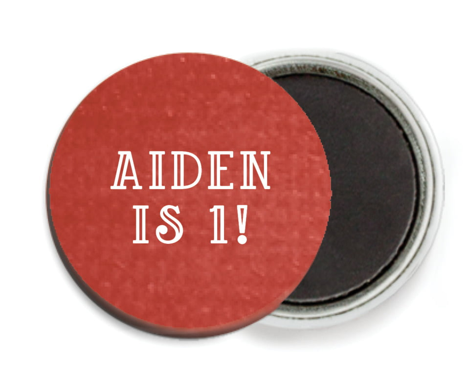 custom button magnets - deep red - simple edge (set of 6)