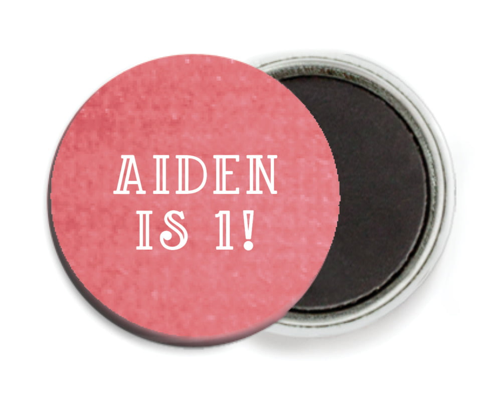 custom button magnets - deep coral - simple edge (set of 6)