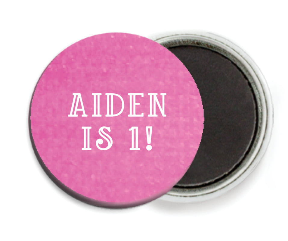 custom button magnets - bright pink - simple edge (set of 6)