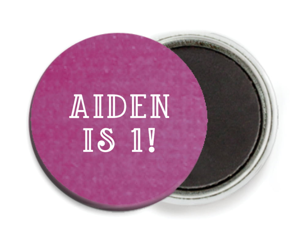 custom button magnets - radiant orchid - simple edge (set of 6)