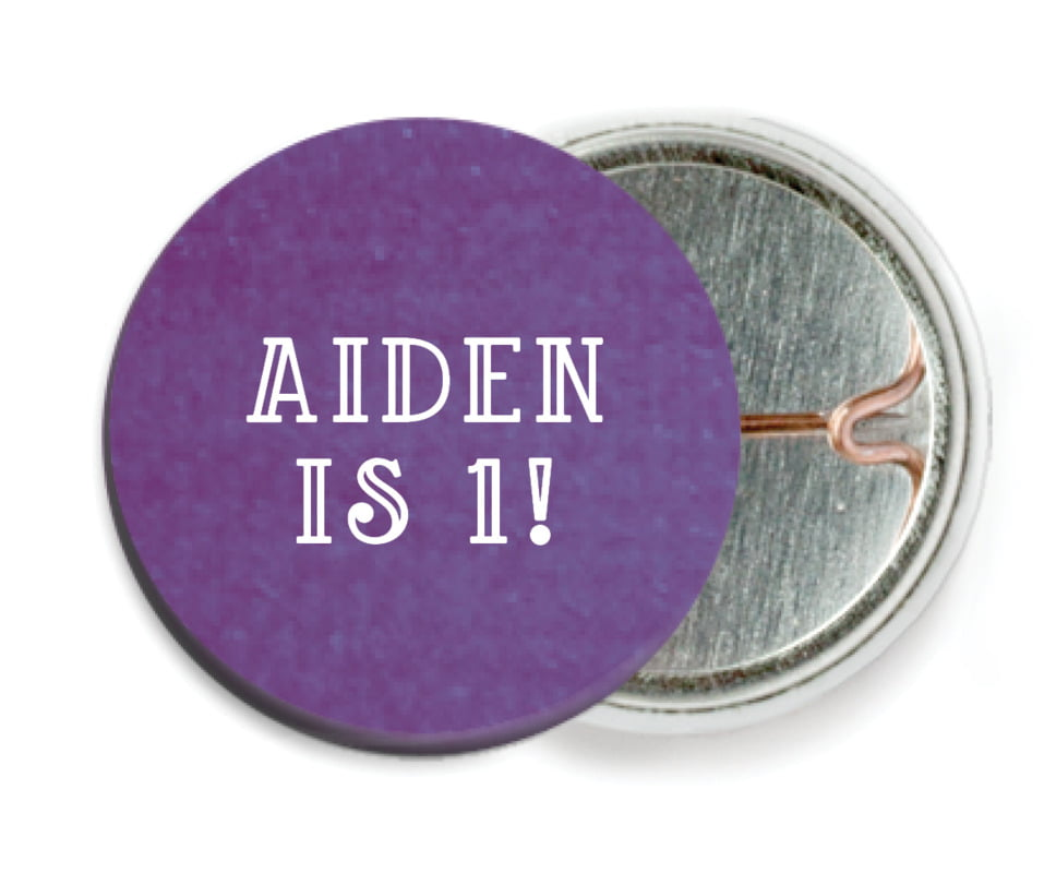 custom pin back buttons - plum - simple edge (set of 6)