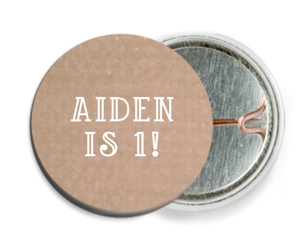 custom pin back buttons - mocha - simple edge (set of 6)