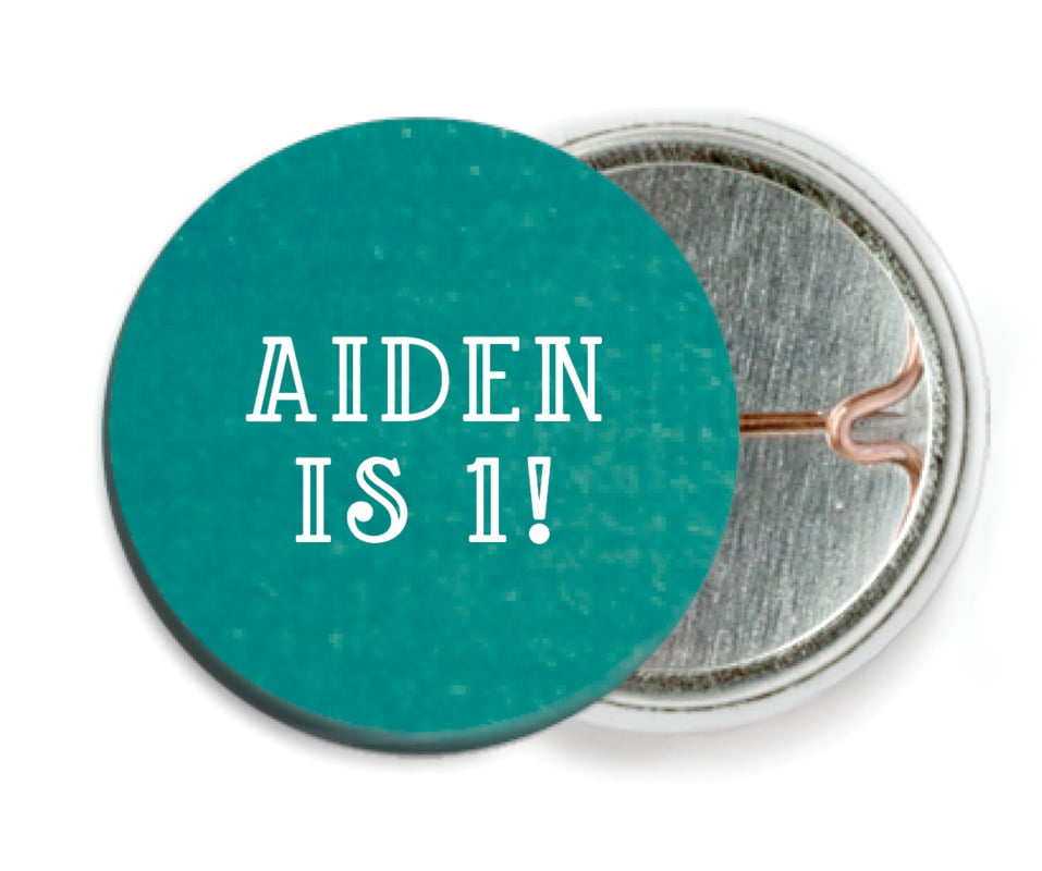 custom pin back buttons - turquoise - simple edge (set of 6)