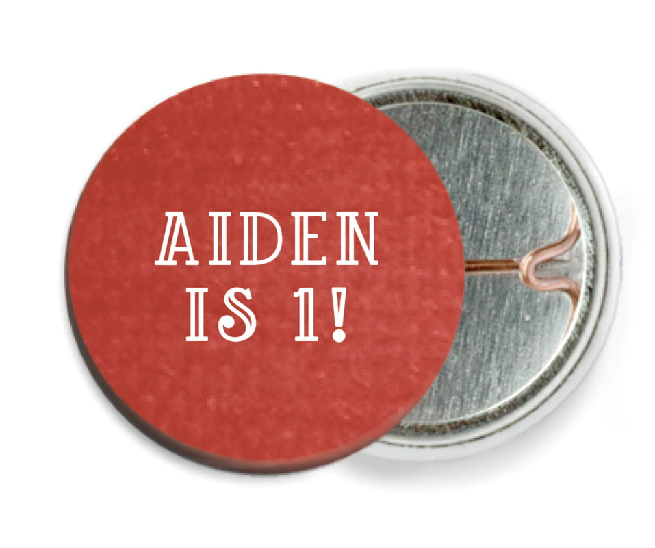 custom pin back buttons - deep red - simple edge (set of 6)