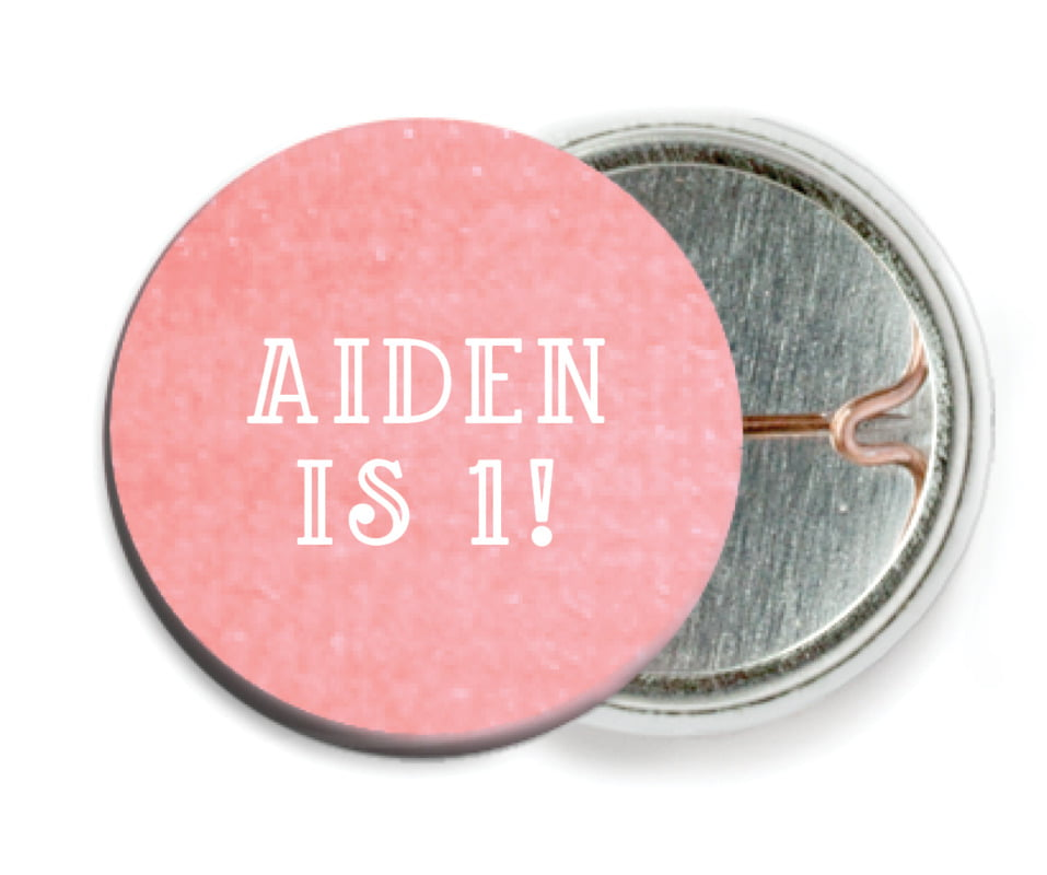 custom pin back buttons - grapefruit - simple edge (set of 6)
