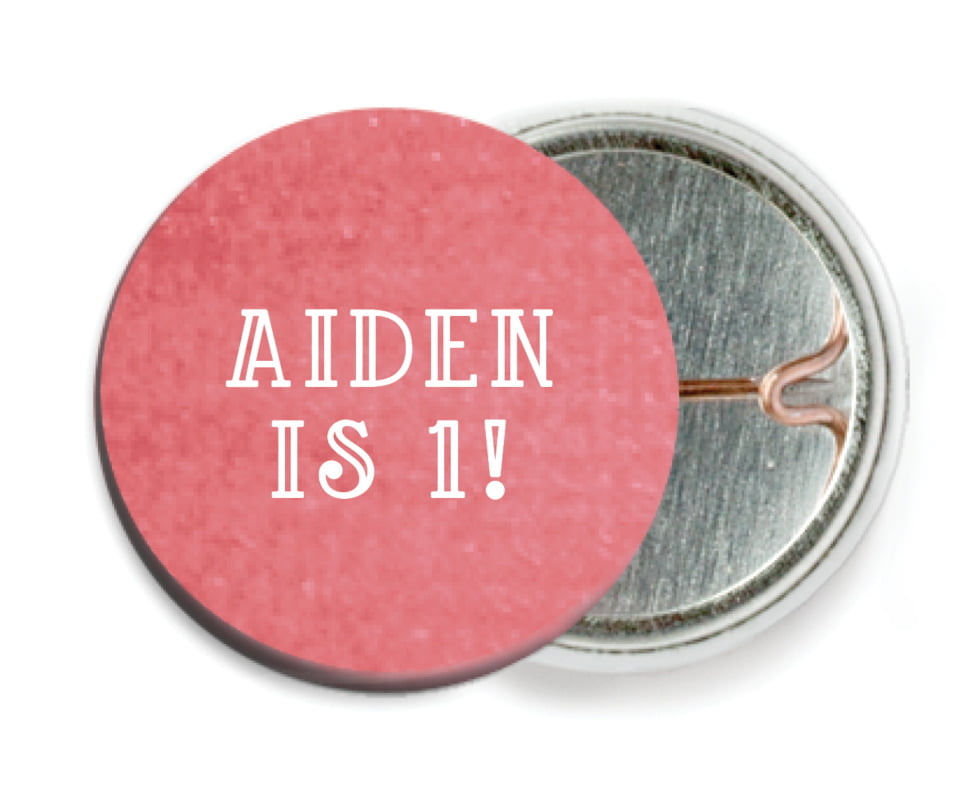 custom pin back buttons - deep coral - simple edge (set of 6)