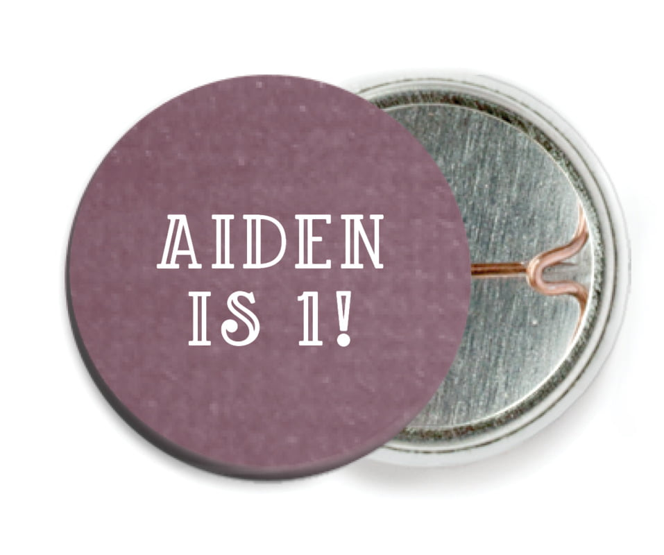 custom pin back buttons - wine - simple edge (set of 6)