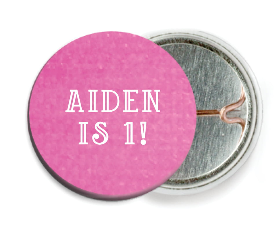 custom pin back buttons - bright pink - simple edge (set of 6)