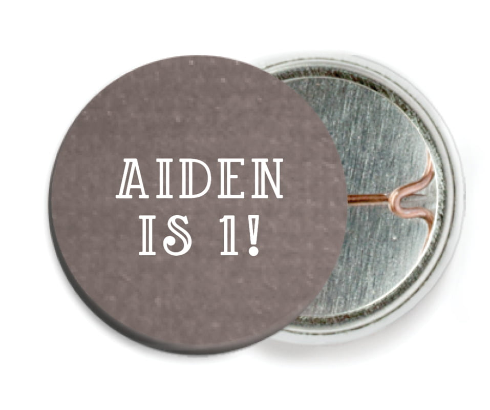 custom pin back buttons - saddle brown - simple edge (set of 6)