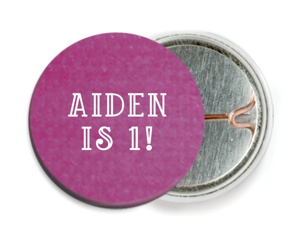 custom pin back buttons - radiant orchid - simple edge (set of 6)