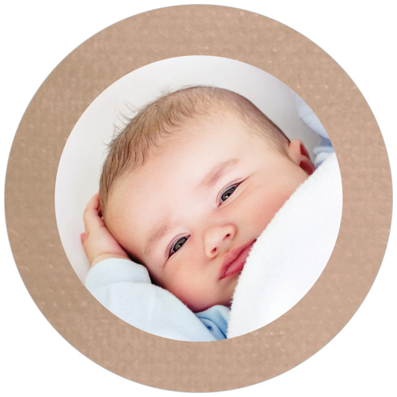 circle photo labels - mocha - simple edge (set of 20)