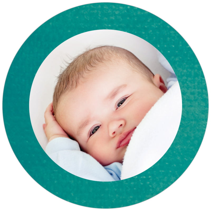 circle photo labels - turquoise - simple edge (set of 20)