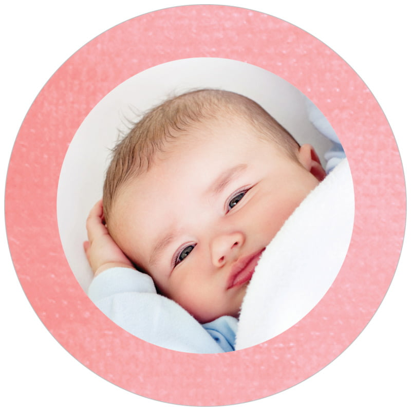 circle photo labels - grapefruit - simple edge (set of 20)