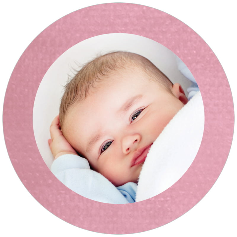 circle photo labels - pale pink - simple edge (set of 20)