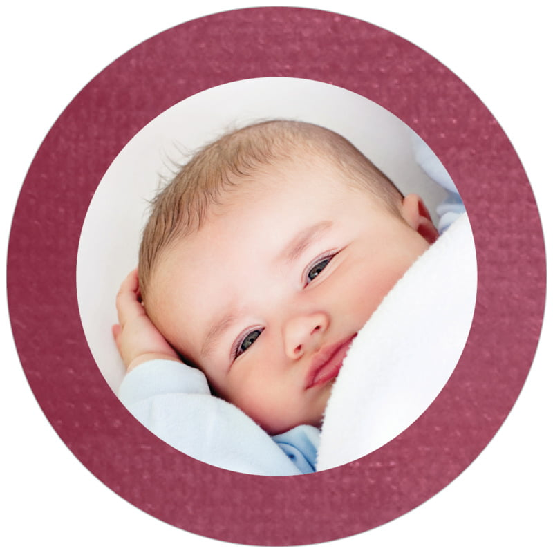 circle photo labels - burgundy - simple edge (set of 20)