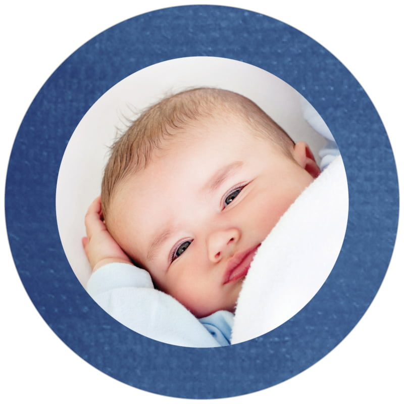 circle photo labels - deep blue - simple edge (set of 20)