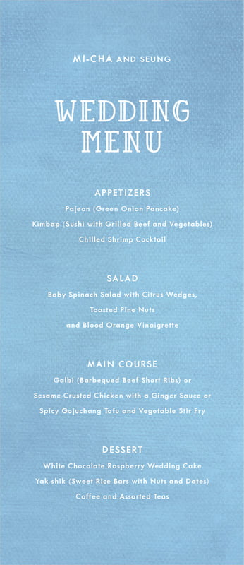 custom menus - blue - simple edge (set of 10)