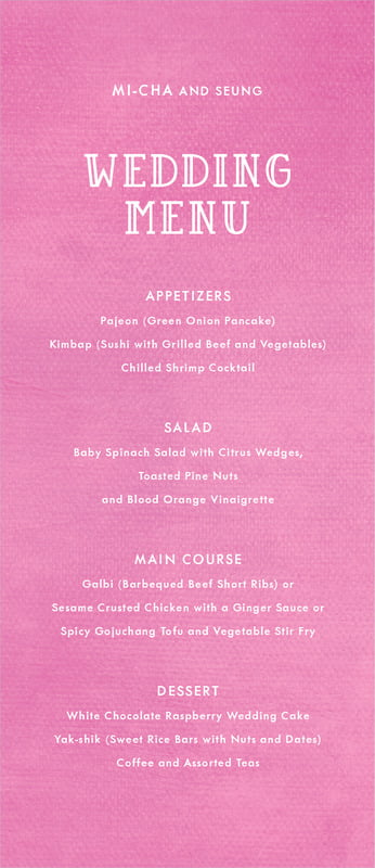 custom menus - bright pink - simple edge (set of 10)