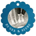 Simple Edge Scallop Hang Tag In Bahama Blue