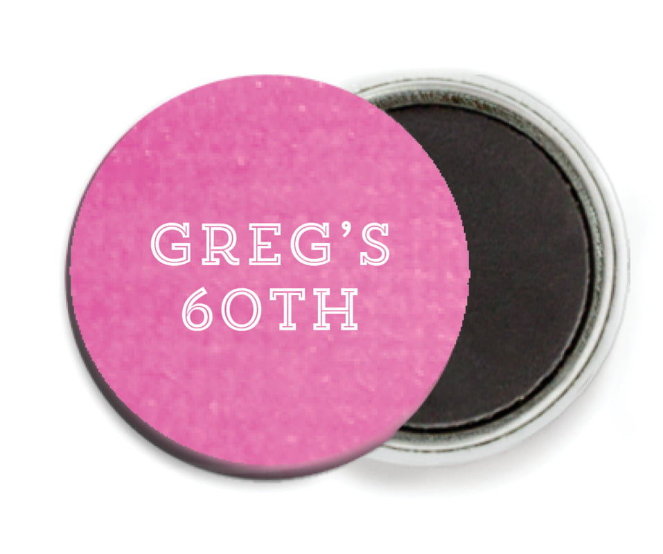 custom button magnets - bright pink - film edge (set of 6)