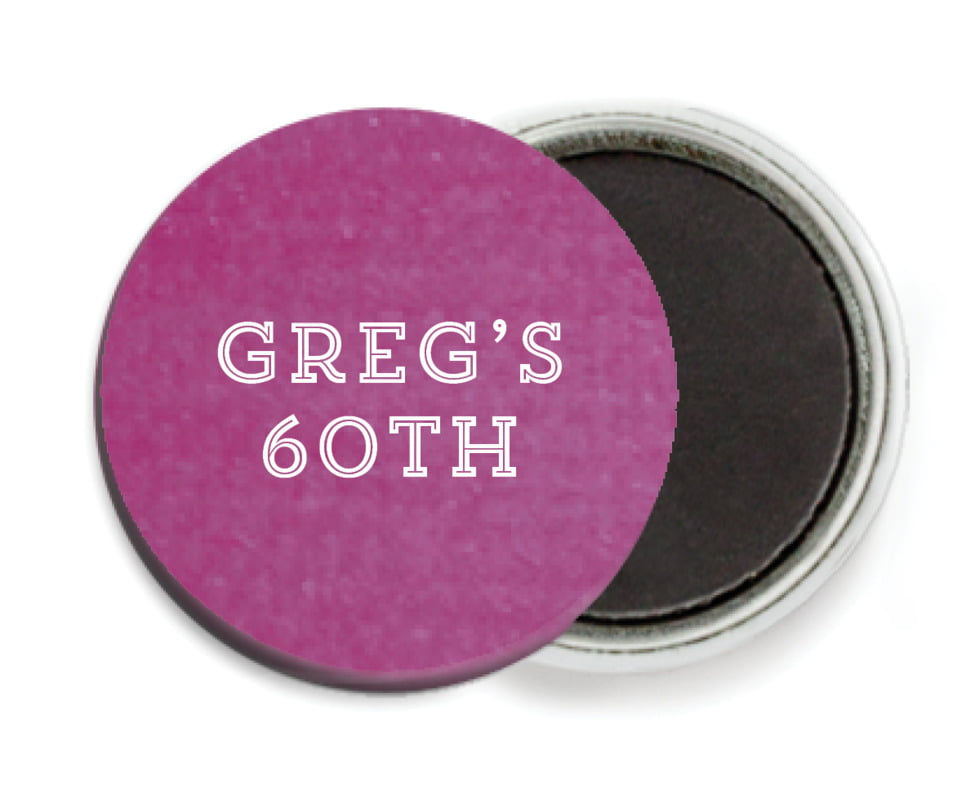 custom button magnets - radiant orchid - film edge (set of 6)