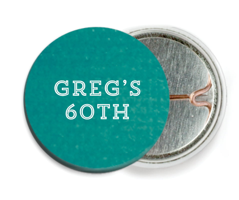 custom pin back buttons - turquoise - film edge (set of 6)
