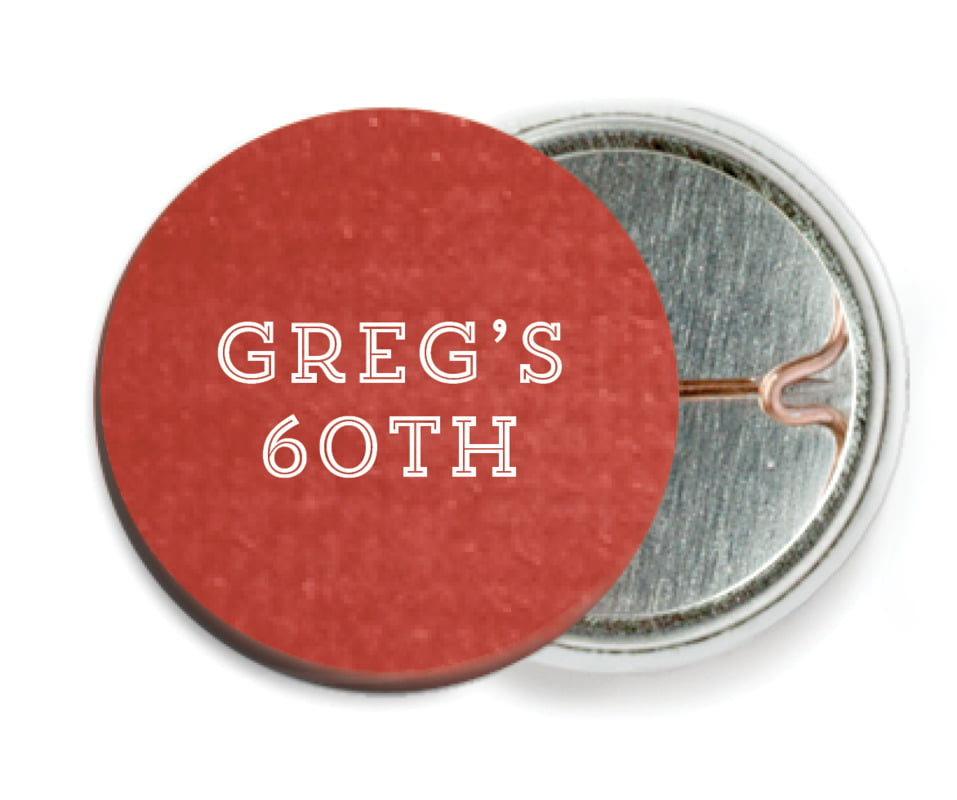 custom pin back buttons - deep red - film edge (set of 6)