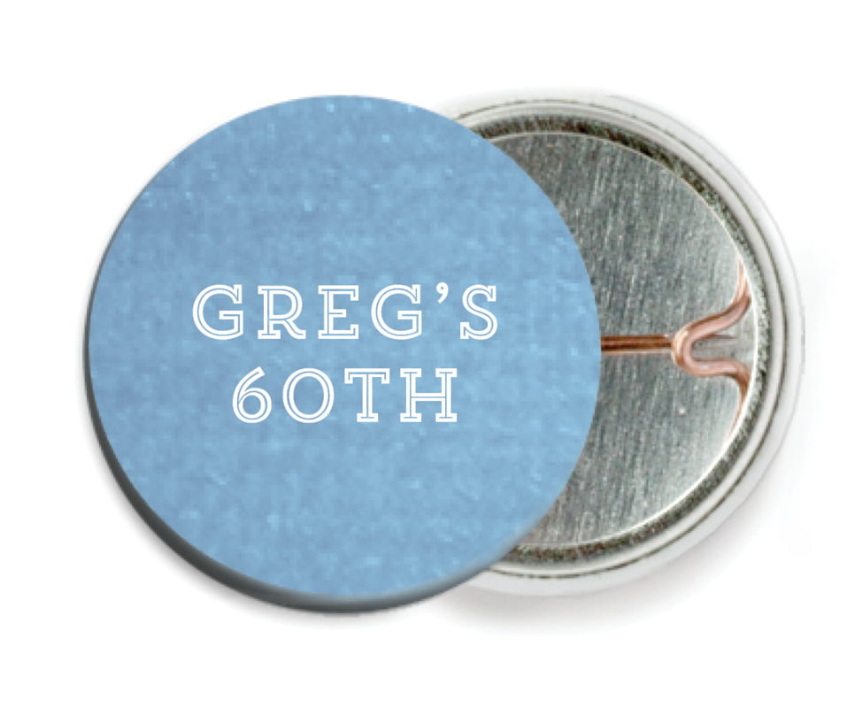 custom pin back buttons - blue - film edge (set of 6)