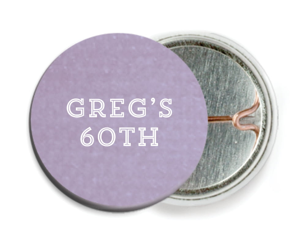 custom pin back buttons - lilac - film edge (set of 6)