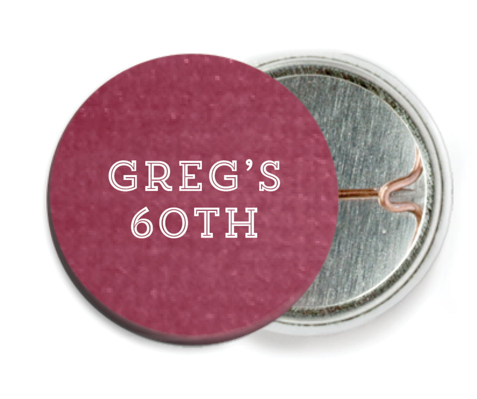 custom pin back buttons - burgundy - film edge (set of 6)