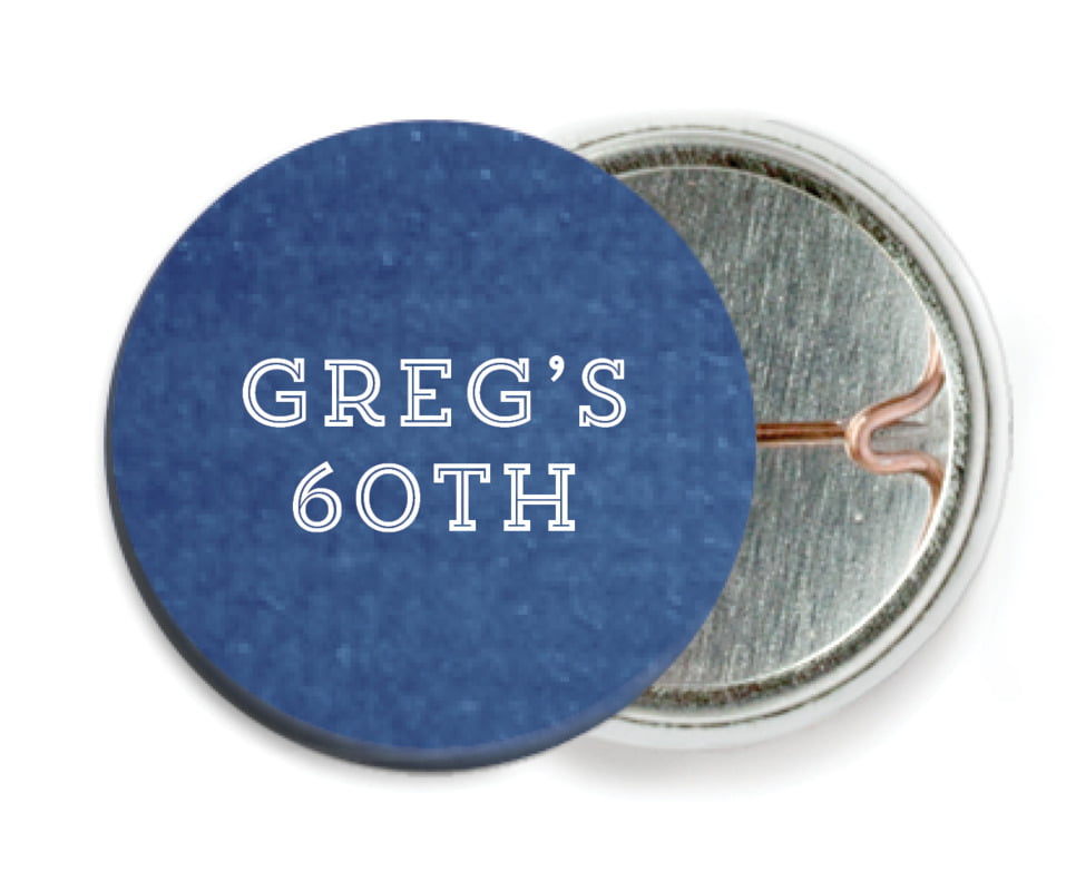 custom pin back buttons - deep blue - film edge (set of 6)