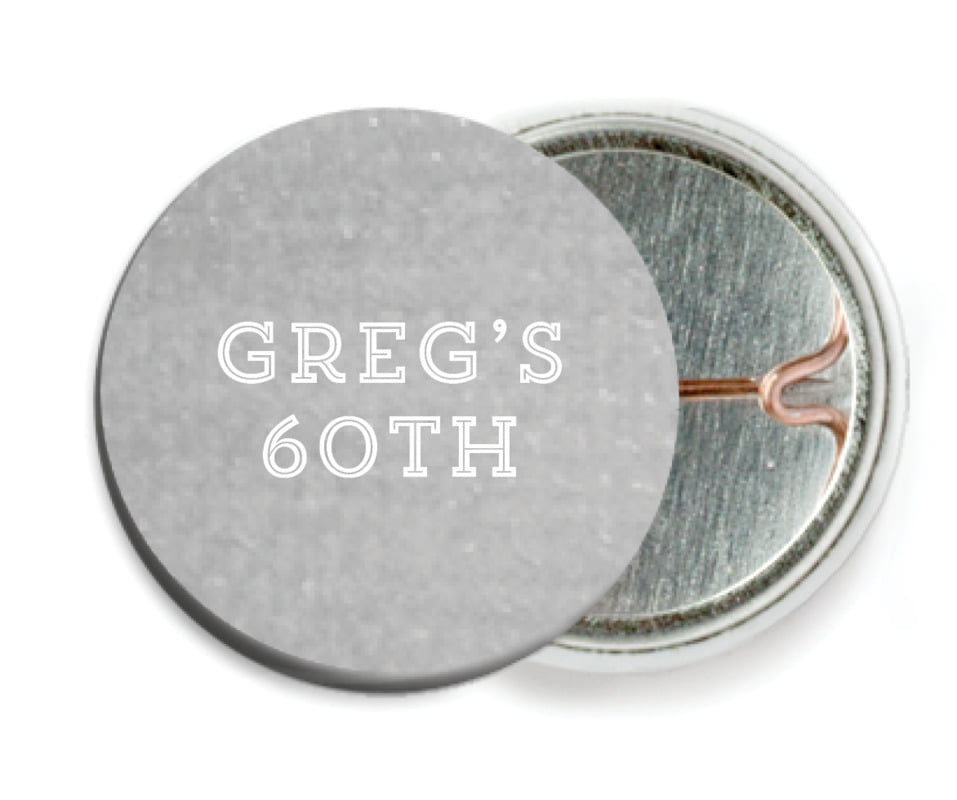 custom pin back buttons - stone - film edge (set of 6)
