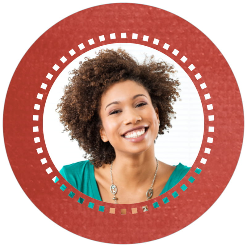 circle photo labels - deep red - film edge (set of 20)