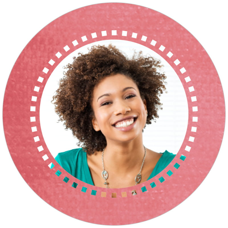 circle photo labels - deep coral - film edge (set of 20)