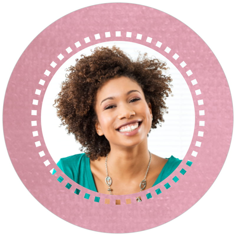 circle photo labels - pale pink - film edge (set of 20)