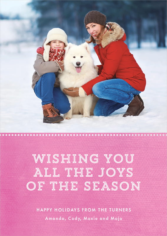 holiday cards - bright pink - film edge (set of 10)